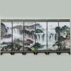 Dollhouse Mini Reversible Asian Screen Room Divider Chinese Mountain Water Paint