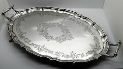 Lg. English Sterling Silver 2 Handled Tray. Floral Engraved Chester 1924 1702gm