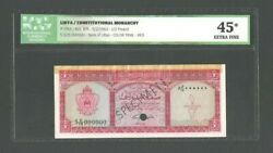 Libya Banknote P-29ct Red Color Trail Specimen 1/2 Pound 1963 Icg 45 Xf