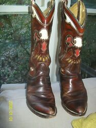 Texas Vintage Leather Inlay Eagle Cowgirl Western Boots And Belt Women 7m/ Mens 5m