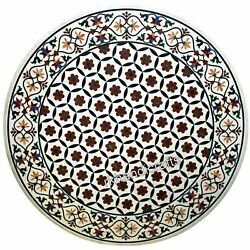 Gemstones Inlay Work Reception Table Top Round Marble Coffee Table Top 40 Inches