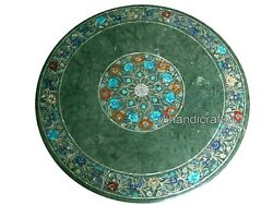 42 Inches Green Marble Office Table Top Hand Made Dining Table Elegant Pattern