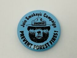 Vintage Blue Smokey Bear Button Pin Join Smokeys Campaign Prevent Forest Fires