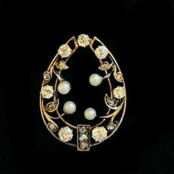 Edwardian, Belle Epoque 14ct Rose Gold, Pearl And Diamond Horseshoe Brooch, C1901