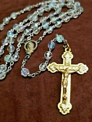 Vintage Catholic Rosary Signed Italy Gold Tone Faceted Ab Beads 18 5 Decades