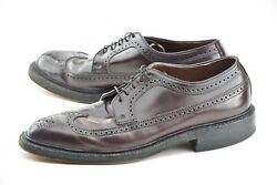 French Shriner 10e 8 Shell Cordovan Vintage Longwing Blucher Dress Shoes