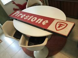 Firestone Tire Embossed Sign Double Sided 72x13.5x3 Red White Grace Bright