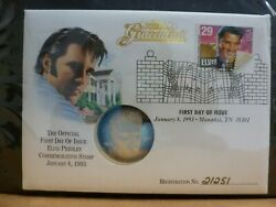 Elvis Presley - Graceland 1 Oz .999 Silver Round 1st Day Of Issue With Coa