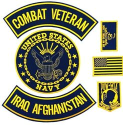 U.s. Navy Combat Veteran Iraq Afghanistan Military Motorcycle Lot Of 6 Patches