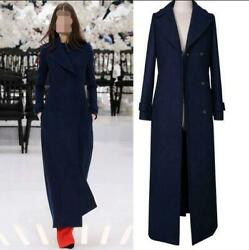 Extra Long Womens Cashmere Wool Trench Coats Slim Winter Jackets Full Length Hot