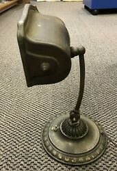 1920and039s Brass Antique Art Deco Bankers Desk Lamp From Estate Long Island Seminary