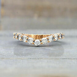 Real Diamond Wedding Eternity Bands Round Cut 1.50 Ct 14k Rose Gold Size 5 6 7 8
