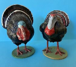 Two Composition Thanksgiving Turkey Candy Container And Figure Germany Paper Mache