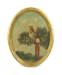 Antique 19th Century Oval Oil Painting Of Tropical Bird Of Paradise