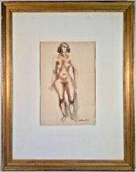 Listed Artist Chaim Gross 1904-1991 Signed Mixed Media Painting W/ Provenance