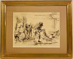 Listed American Artist Philip Reisman 1904-1992 Signed Ink Painting