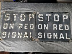 Stop On Red Signal X2 Railroad Vintage Signs