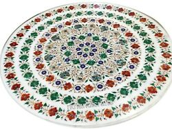 42 Inches Multi Gemstones Work Dining Table Top Round Marble Living Room Table