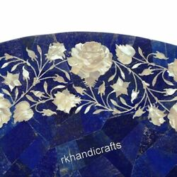 30 Inches Marble Dinette Table Top Lapis Lazuli Stone Random Work Kitchen Table