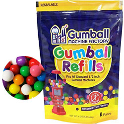 Gumballs Refill For Gumball Machines - Assorted Fruit Flavored Bubble Gum 1 Poun