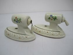 2 Vtg Painted Floral Porcelain Sconce Electric Wall Light Fixtures Deco As Is