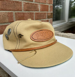 Vintage Boyt Canvas Duck Hunting Leather Strap Back Hat Cap Usa W Rare Pins