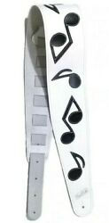The Authentic Earth Iii Stevie Ray Vaughan Musical Note Guitar Strap - White