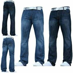 Mens Smith And Jones Jeans Bootcut Straight Leg Designer With Free Belt All Size