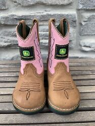 John Deere Cowboy Cowgirl Boots Brown Pink Infant Girls Size 4.5