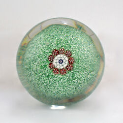 Antique Saint Louis Green And White Jasper Ground Glass Paperweight - French St Gl