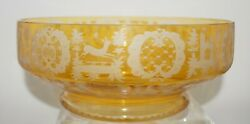 Bohemian Honey Amber Cut To Clear Engraved Center Piece Stag Hound Castles