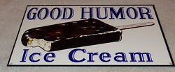 Vintage Good Humor Ice Cream Bar 12 Baked Metal Truck Gasoline And Oil Food Sign