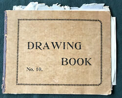 Antique Vintage Artist Drawing Book Several Drawings