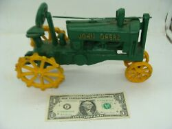 Vintage John Deere Cast Iron Toy Farm Advertising Agriculture Tractor