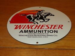 Vintage Winchester Ammunition Gun 11 3/4 Porcelain Metal Repeating Arms Ct Sign