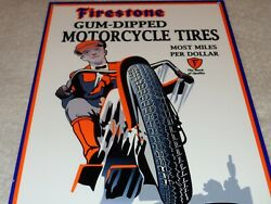 Vintage Firestone Gum Dipped Motorcycle Tires 12 Metal Tire Gasoline And Oil Sign