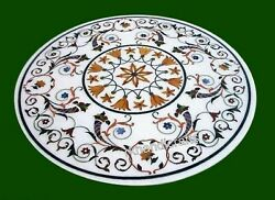 42 Inches Heritage Art Round Reception Table Top White Marble Dining Table Top