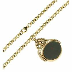 9ct Belcher Chain Necklace And Bloodstone And Sard Fob Pendant
