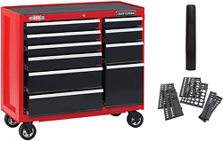 Craftsman Tool Cabinet W/ Drawer Liner Roll And Socket Organizer, 41 Rolling New