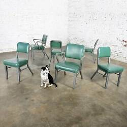 Streamline Industrial Metal And Green Vinyl Faux Leather Dining Chairs Set Of 6