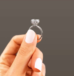 Slate And Tell 4 Ct Round Moissanite + .12 Ctw Diamond Hidden Halo Engagement Ring