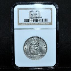 1851-p Seated Liberty Half Dollar ✪ Ngc Ms-61 ✪ 50c Silver Uncirculated◢trusted◣