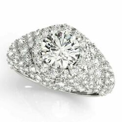 Real Round Cut 2.10 Ct Diamond Engagement Ring 14k White Gold Size 6.5 8 9