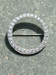 Vintage Platinum And Diamond Open Circle Pin Or Brooch With Box