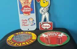 Vintage Shell Gasoline, Esso, Dairy Queen, 4 Porcelain Gas Service Station Signs