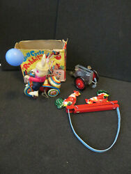 Vtg Tin Toys Lot 3, Rabbit On Bikes, Chickens Playing And Wind Up Airplane Part