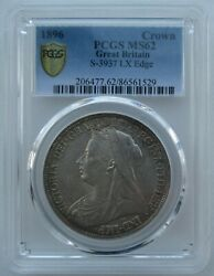 Pcgs Ms62 Great Britain Uk 1896 Queen Victoria Silver Coin 1 Crown