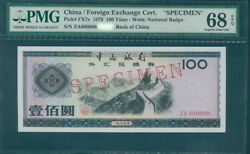 Pmg 68 China 1979 Foreign Exchange Certificate Banknote Specimen 100 Yuan Epq