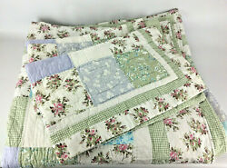 King Size Bedspread And Shams -100 Cotton - Farmhouse Floral Plaid Pattern