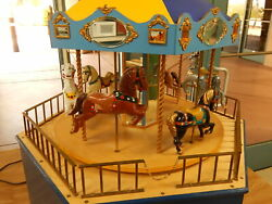 """Carousel Full-motion Working Merry-go-round 1/12 Scale Six Horses 27"""" Tall"""